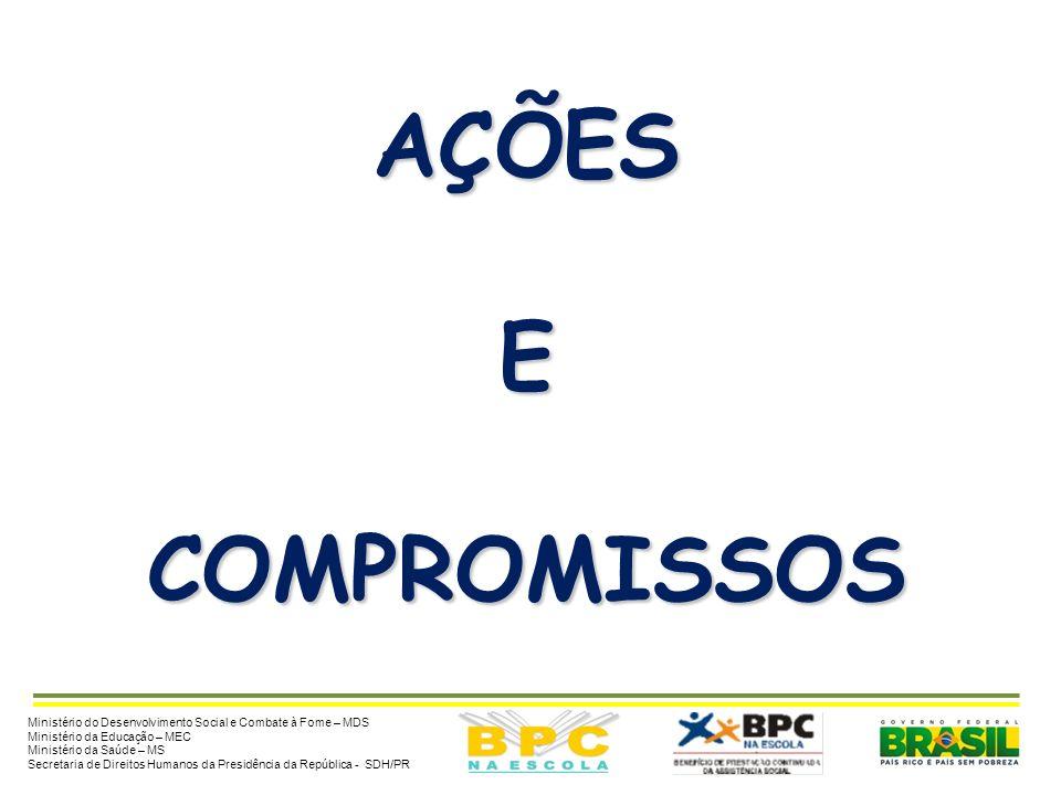 AÇÕES E. COMPROMISSOS. Ministério do Desenvolvimento Social e Combate à Fome – MDS. Ministério da Educação – MEC.