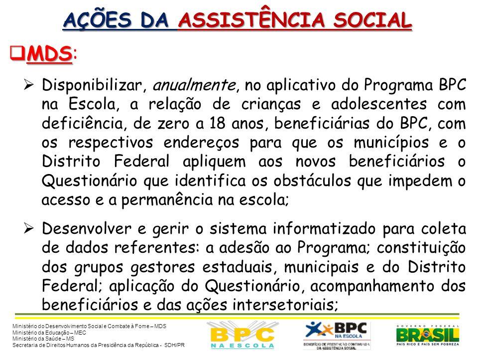 AÇÕES DA ASSISTÊNCIA SOCIAL