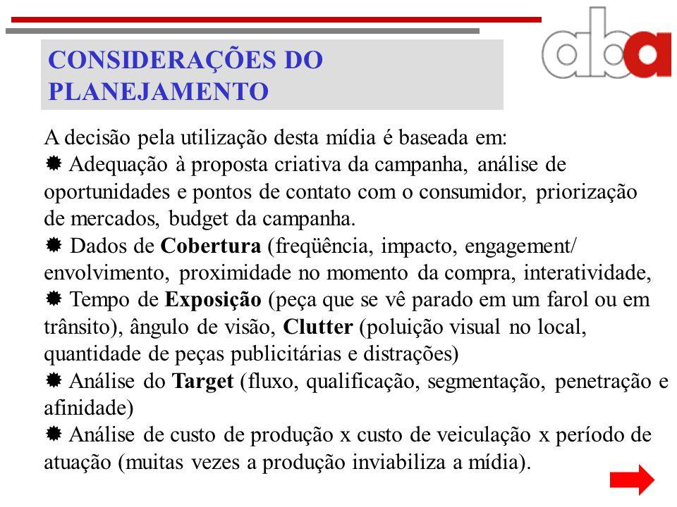 CONSIDERAÇÕES DO PLANEJAMENTO