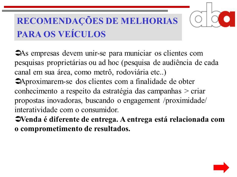 RECOMENDAÇÕES DE MELHORIAS PARA OS VEÍCULOS