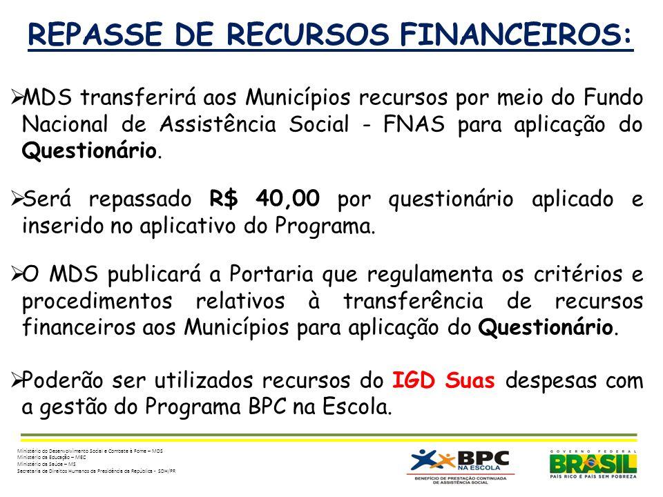 REPASSE DE RECURSOS FINANCEIROS: