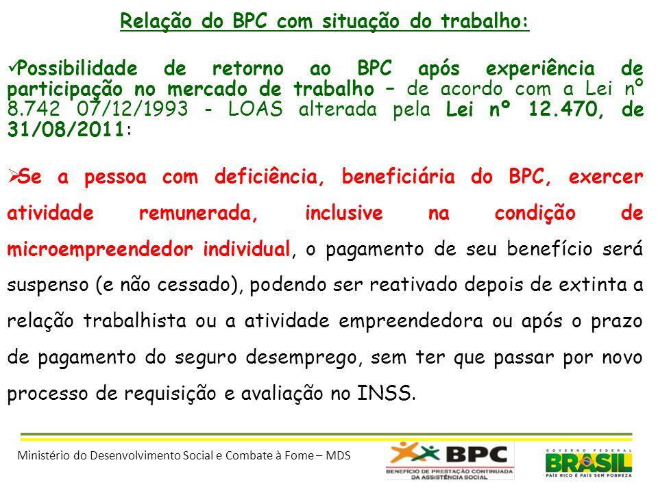 Relação do BPC com situação do trabalho: