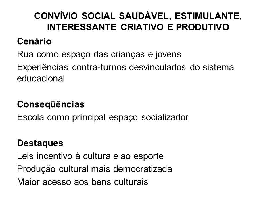 CONVÍVIO SOCIAL SAUDÁVEL, ESTIMULANTE, INTERESSANTE CRIATIVO E PRODUTIVO