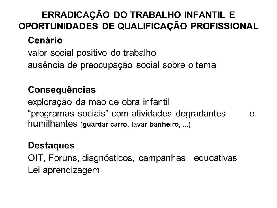 ERRADICAÇÃO DO TRABALHO INFANTIL E OPORTUNIDADES DE QUALIFICAÇÃO PROFISSIONAL
