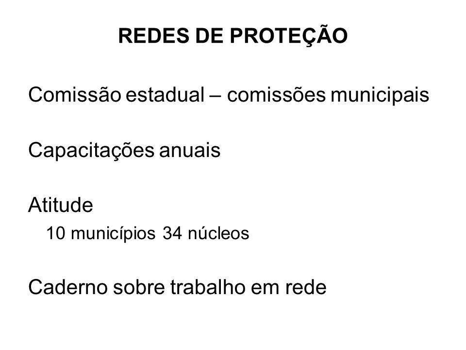 REDES DE PROTEÇÃO Comissão estadual – comissões municipais. Capacitações anuais. Atitude. 10 municípios 34 núcleos.