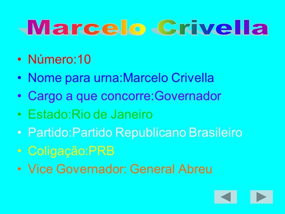 Nome para urna:Marcelo Crivella Cargo a que concorre:Governador
