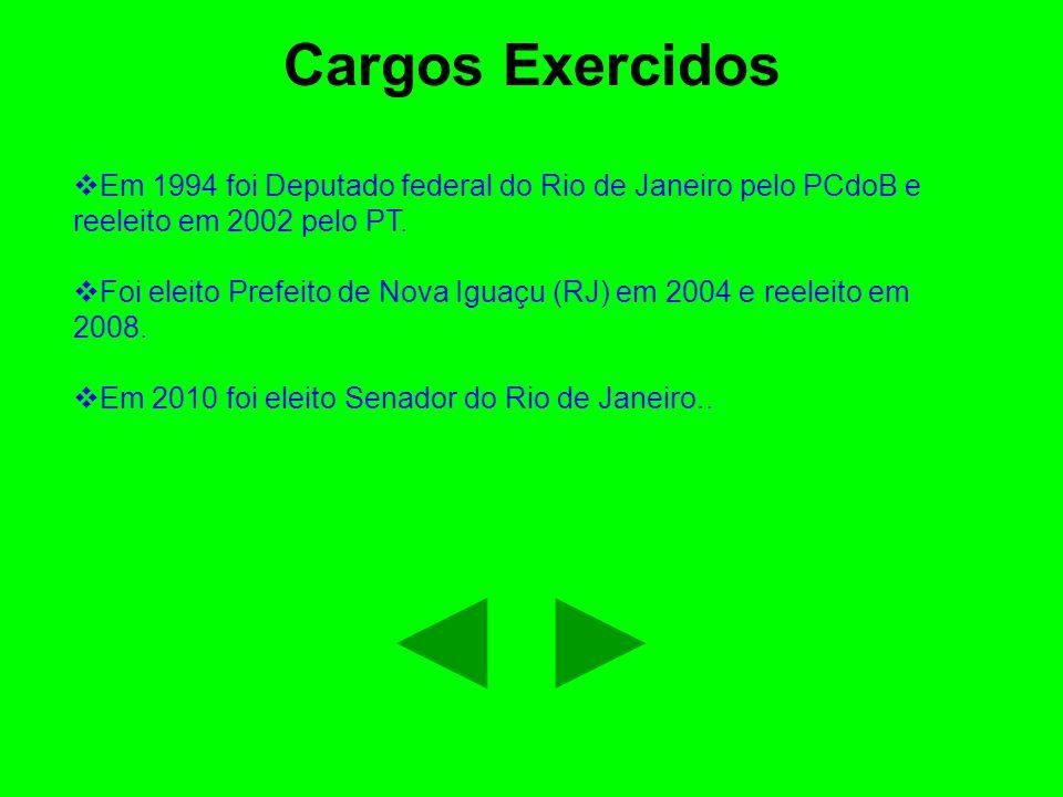 Cargos Exercidos Em 1994 foi Deputado federal do Rio de Janeiro pelo PCdoB e reeleito em 2002 pelo PT.