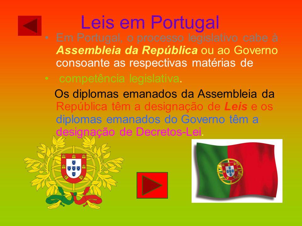 Leis em Portugal Em Portugal, o processo legislativo cabe à Assembleia da República ou ao Governo consoante as respectivas matérias de.