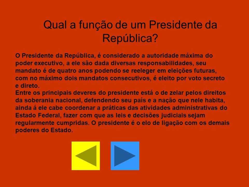 Qual a função de um Presidente da República