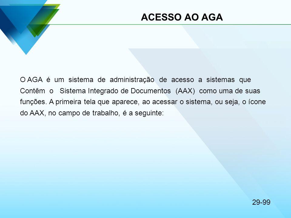 ACESSO AO AGA O AGA é um sistema de administração de acesso a sistemas que.