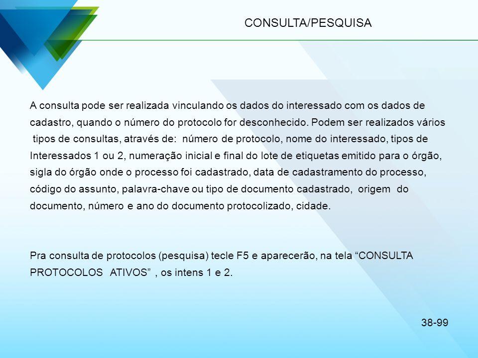 CONSULTA/PESQUISA A consulta pode ser realizada vinculando os dados do interessado com os dados de.