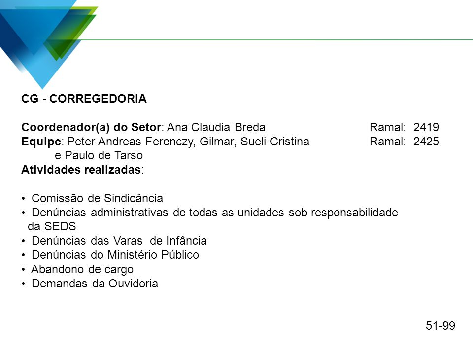 CG - CORREGEDORIA Coordenador(a) do Setor: Ana Claudia Breda Ramal: 2419. Equipe: Peter Andreas Ferenczy, Gilmar, Sueli Cristina Ramal: 2425.