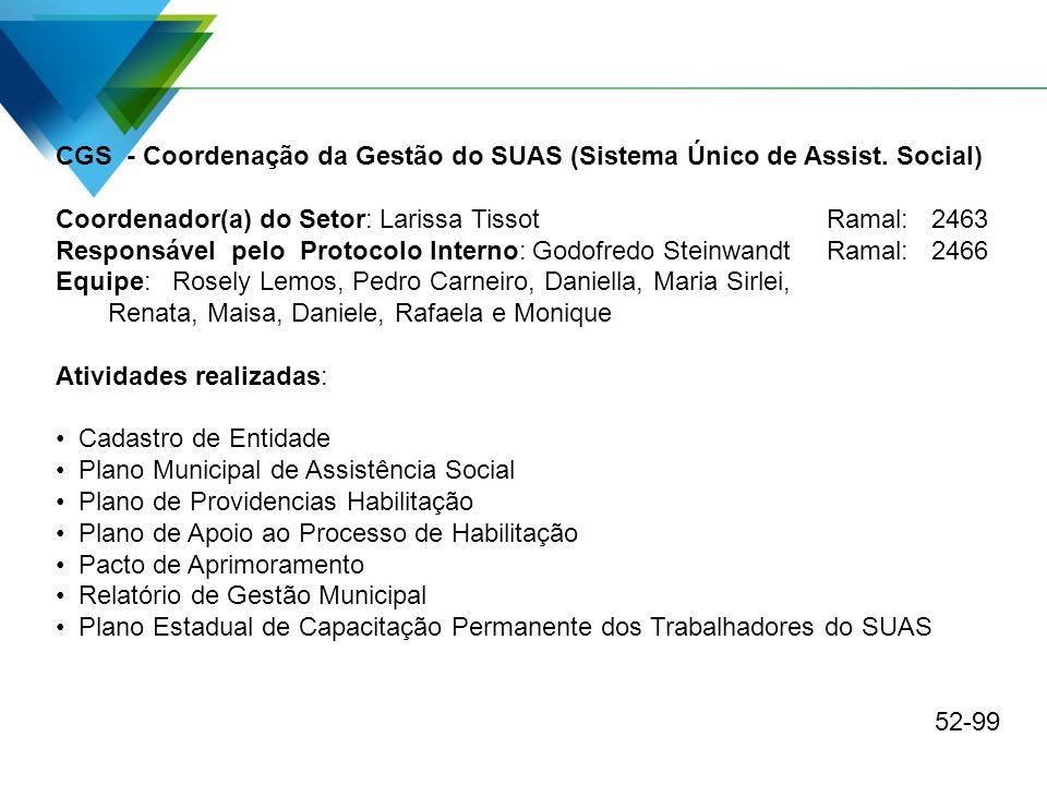 CGS - Coordenação da Gestão do SUAS (Sistema Único de Assist. Social)