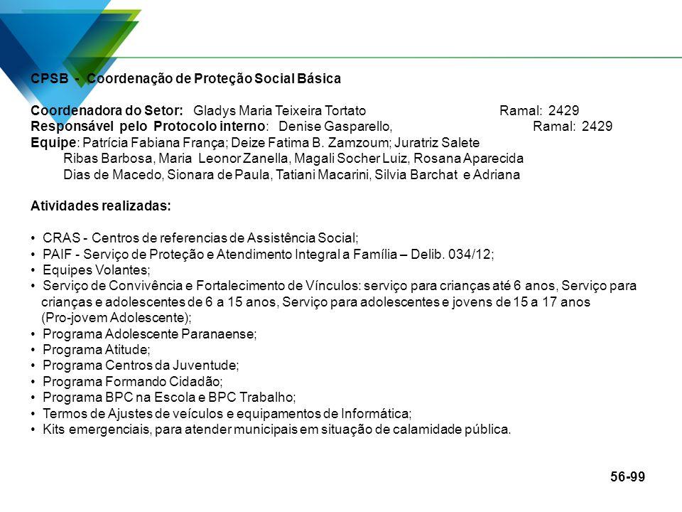 CPSB - Coordenação de Proteção Social Básica