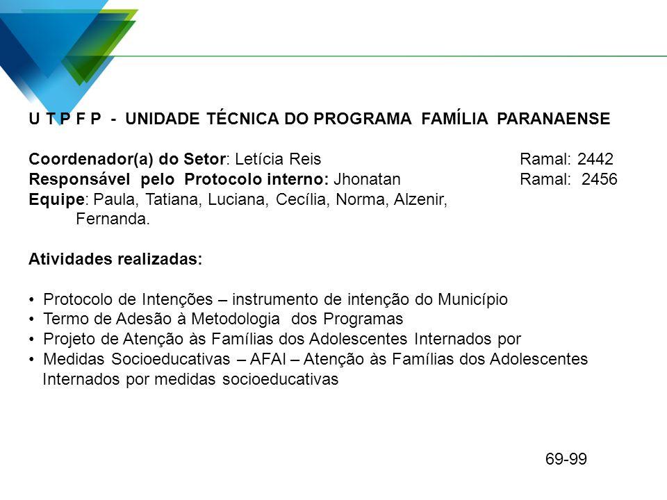 U T P F P - UNIDADE TÉCNICA DO PROGRAMA FAMÍLIA PARANAENSE