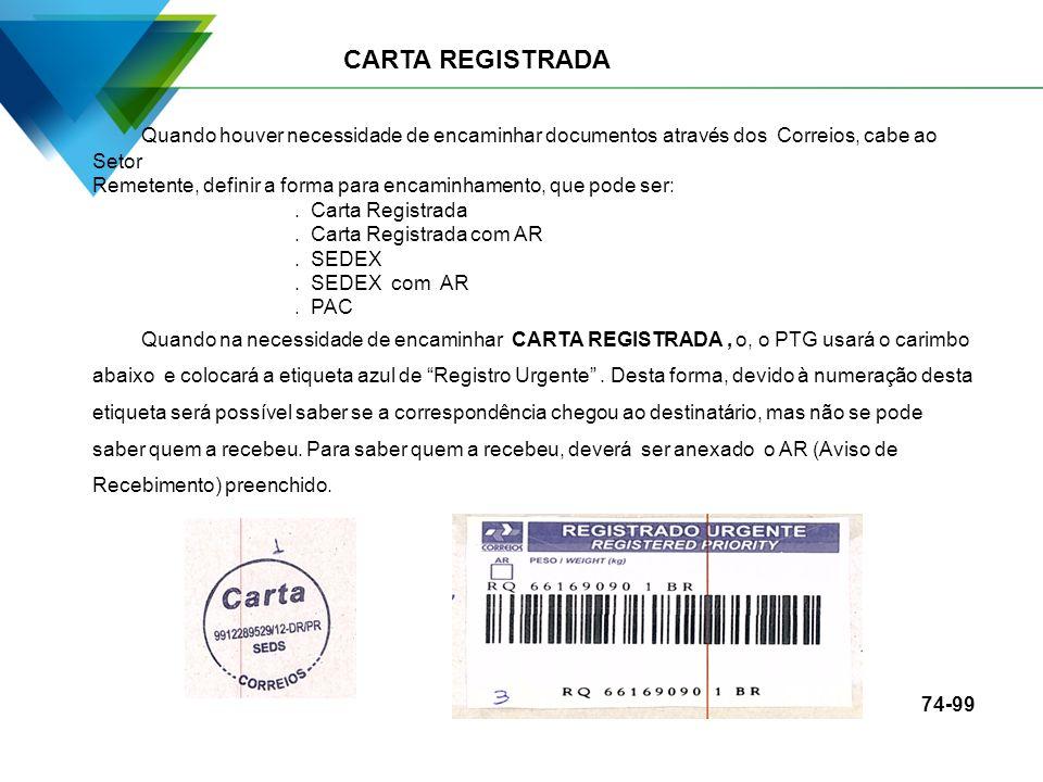CARTA REGISTRADA Quando houver necessidade de encaminhar documentos através dos Correios, cabe ao Setor.