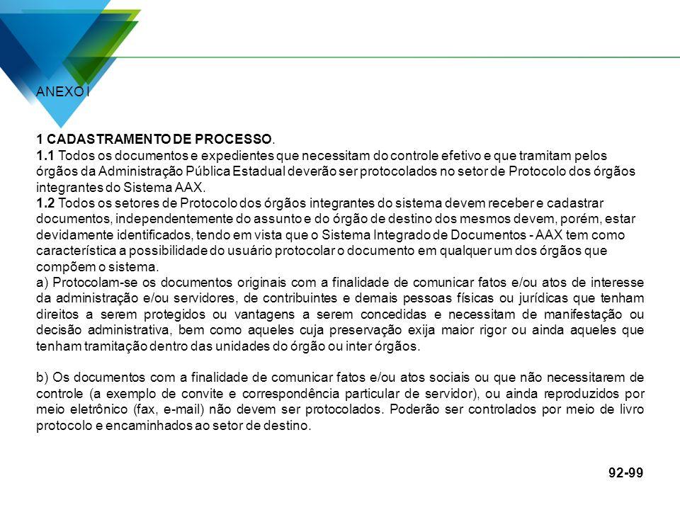 ANEXO I 1 CADASTRAMENTO DE PROCESSO.