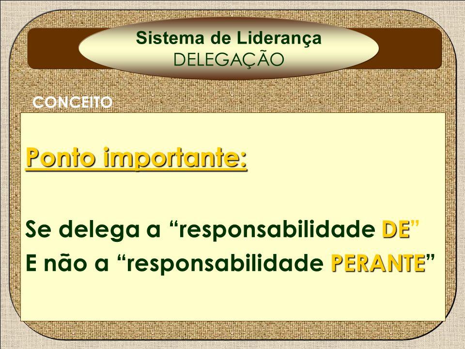 Ponto importante: Se delega a responsabilidade DE