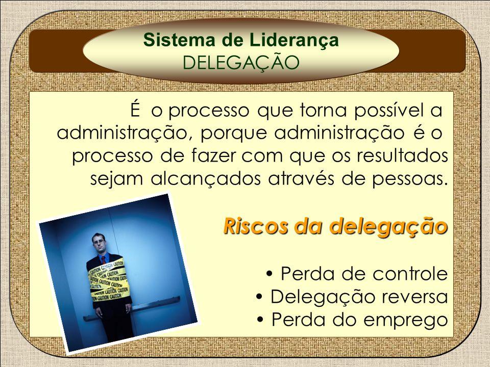 DELEGAÇÃO Riscos da delegação Sistema de Liderança DELEGAÇÃO