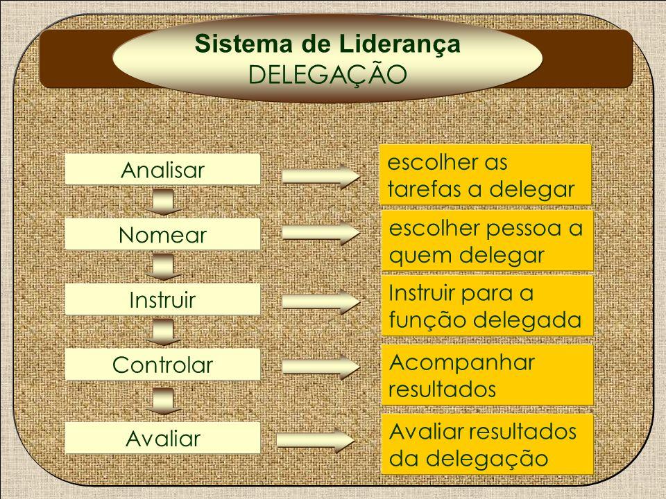 Sistema de Liderança DELEGAÇÃO escolher as tarefas a delegar Analisar