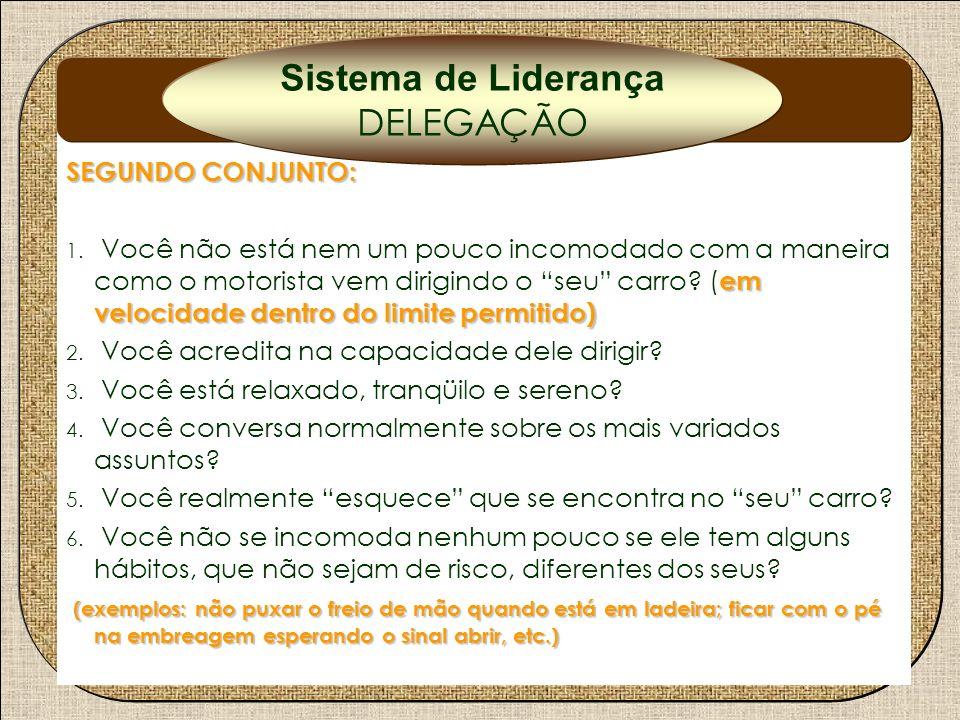 Delegação Sistema de Liderança DELEGAÇÃO SEGUNDO CONJUNTO:
