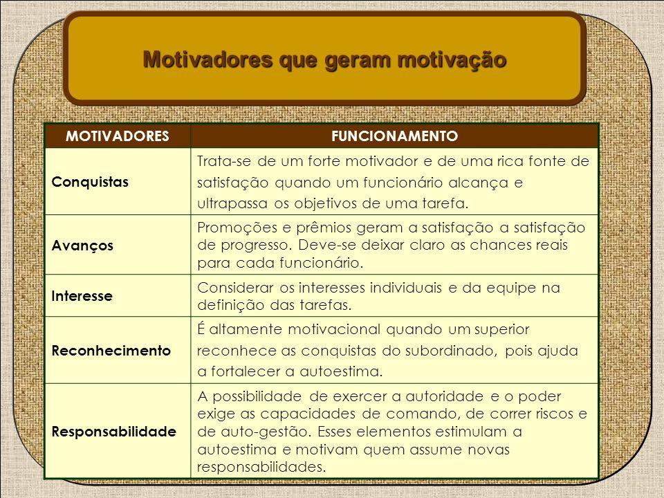 Motivadores que geram motivação