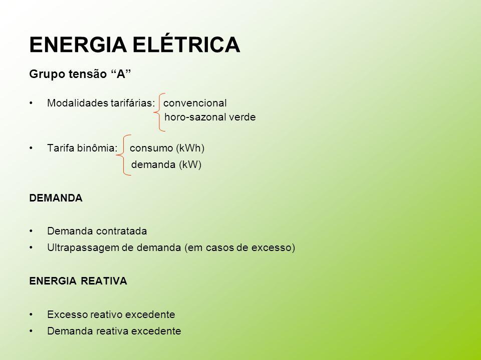 ENERGIA ELÉTRICA Grupo tensão A Modalidades tarifárias: convencional