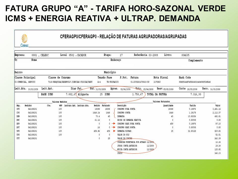FATURA GRUPO A - TARIFA HORO-SAZONAL VERDE ICMS + ENERGIA REATIVA + ULTRAP. DEMANDA
