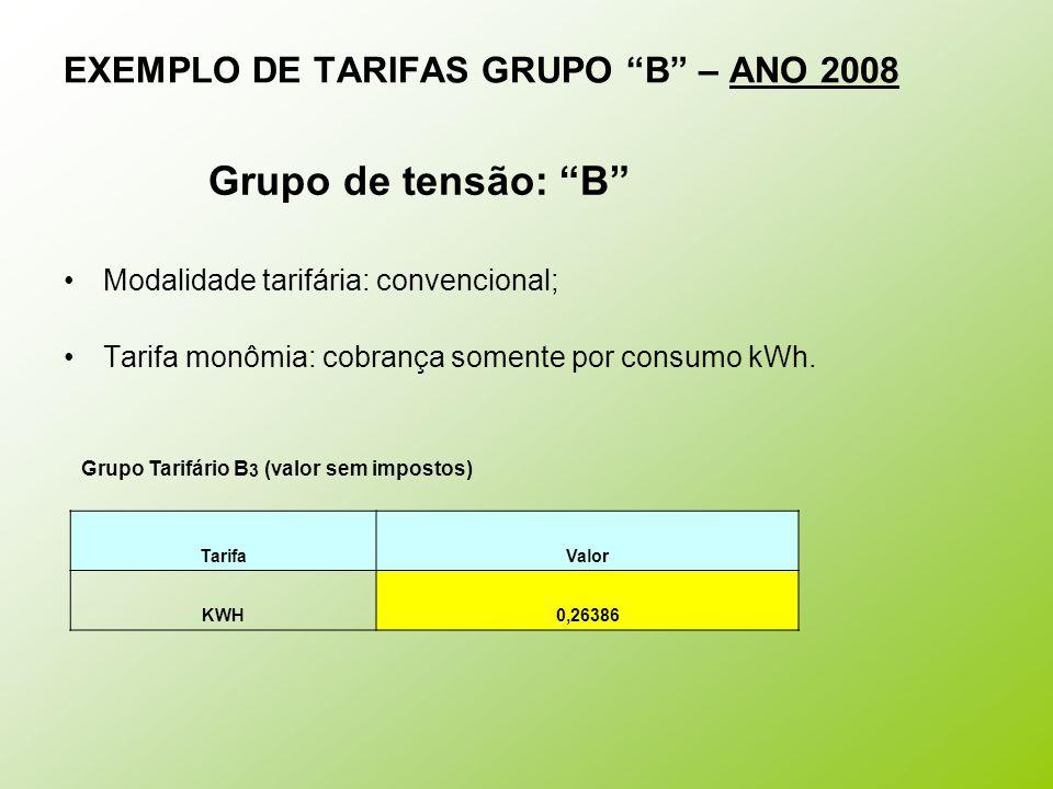 EXEMPLO DE TARIFAS GRUPO B – ANO 2008