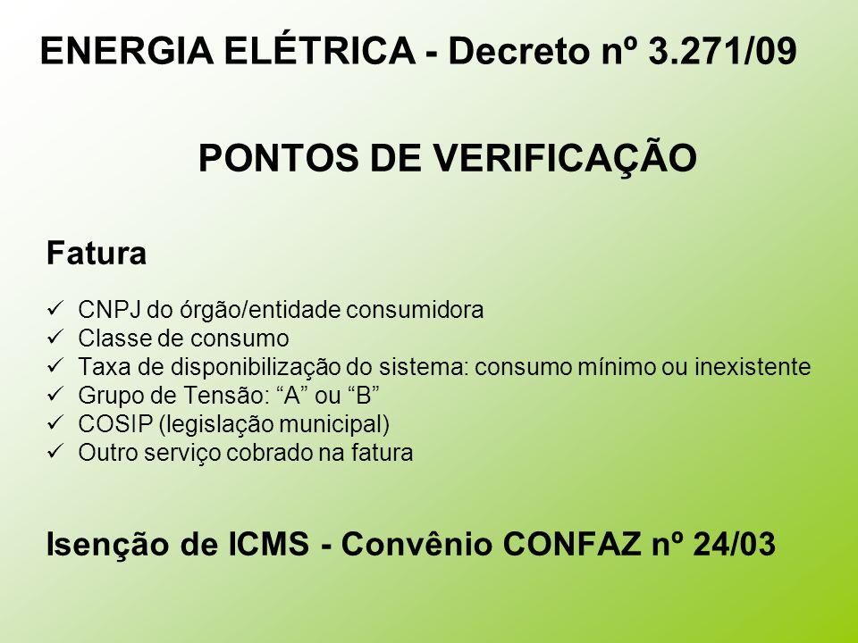 ENERGIA ELÉTRICA - Decreto nº 3.271/09