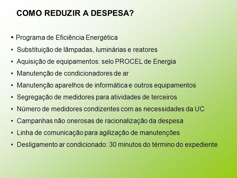 COMO REDUZIR A DESPESA Programa de Eficiência Energética