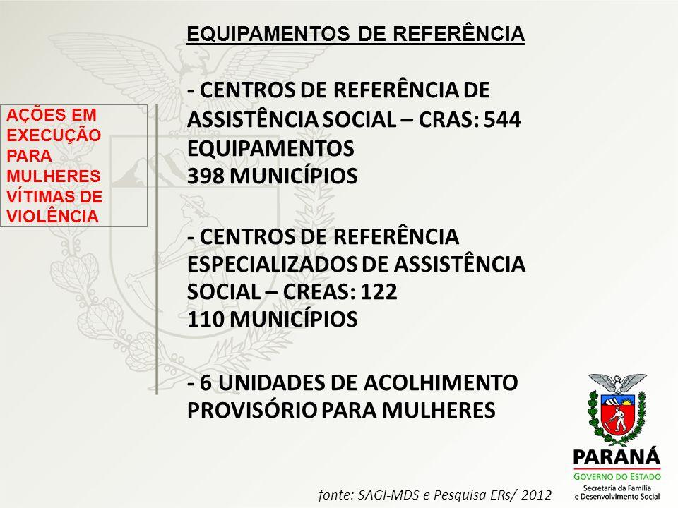 - CENTROS DE REFERÊNCIA DE ASSISTÊNCIA SOCIAL – CRAS: 544 EQUIPAMENTOS