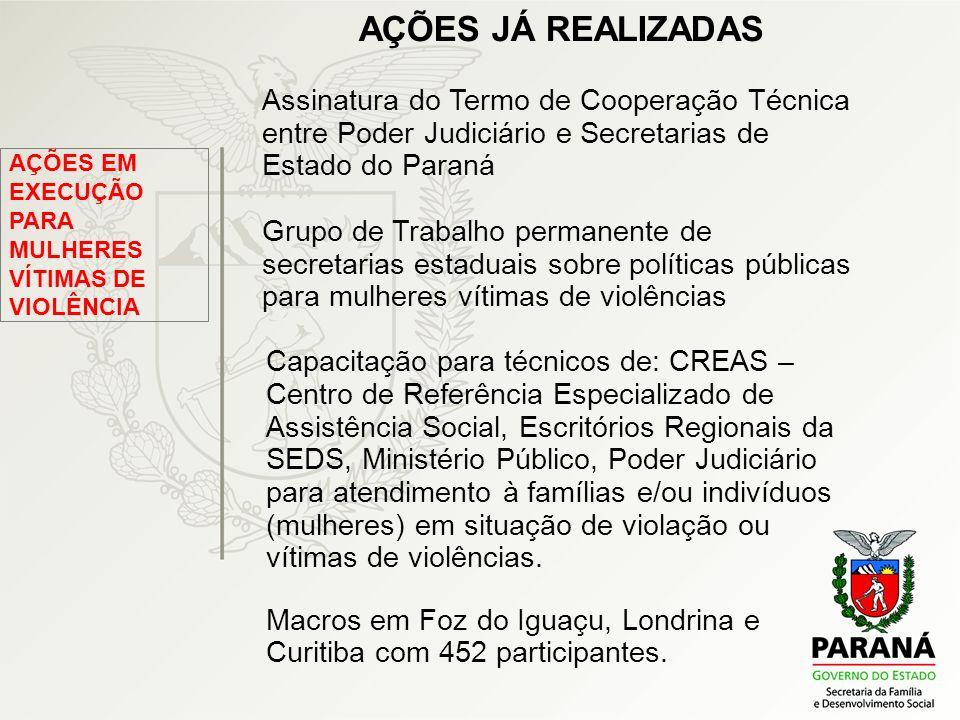 AÇÕES JÁ REALIZADAS Assinatura do Termo de Cooperação Técnica entre Poder Judiciário e Secretarias de Estado do Paraná.