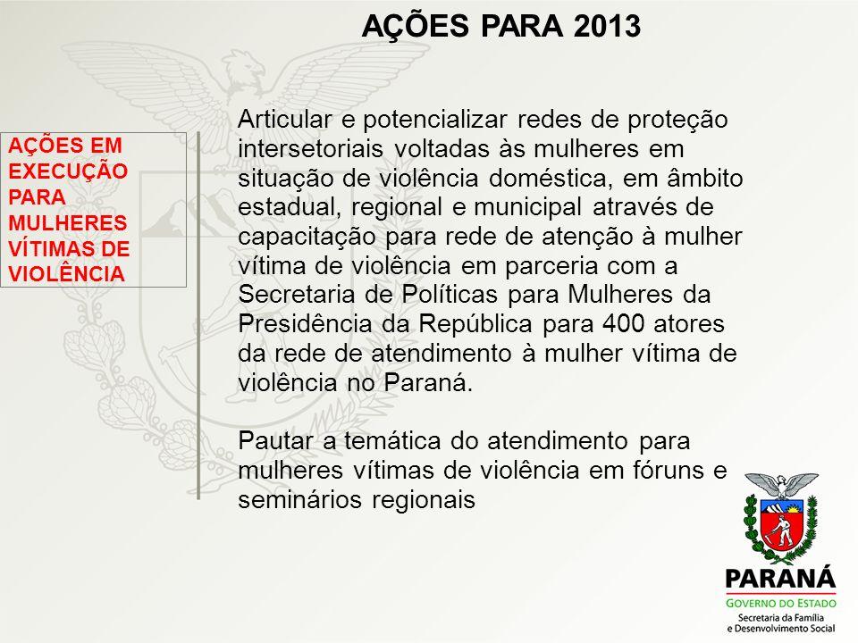 AÇÕES PARA 2013