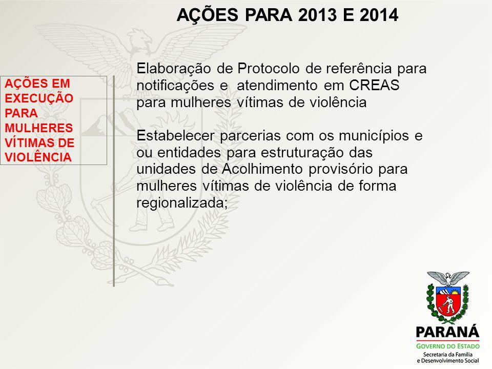 AÇÕES PARA 2013 E 2014 Elaboração de Protocolo de referência para notificações e atendimento em CREAS para mulheres vítimas de violência.