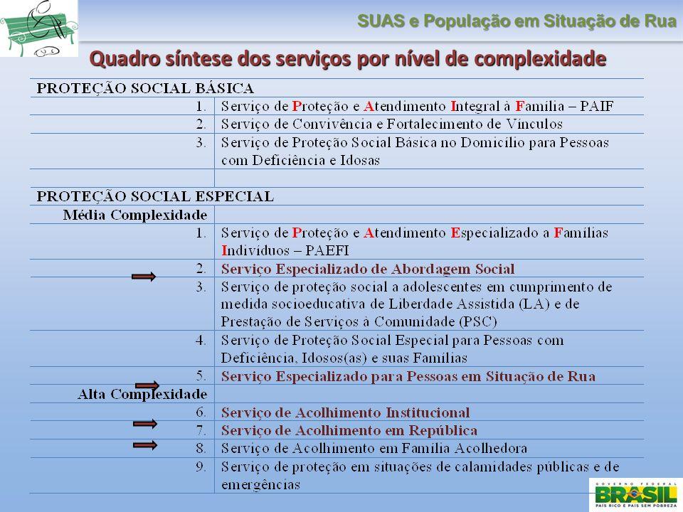 Quadro síntese dos serviços por nível de complexidade