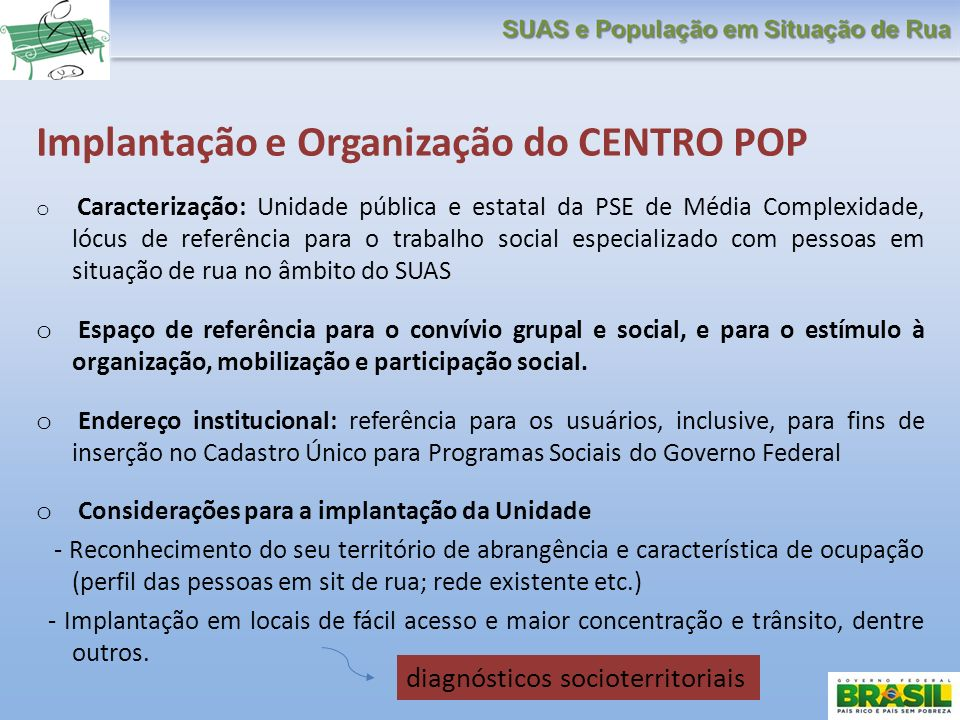 Implantação e Organização do CENTRO POP