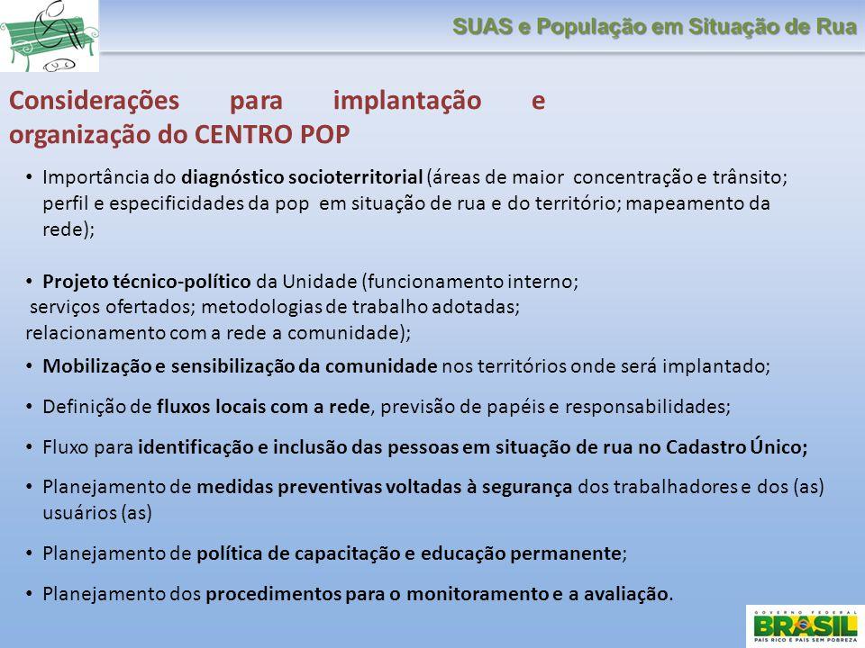Considerações para implantação e organização do CENTRO POP