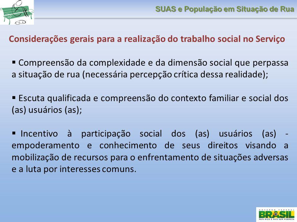 Considerações gerais para a realização do trabalho social no Serviço