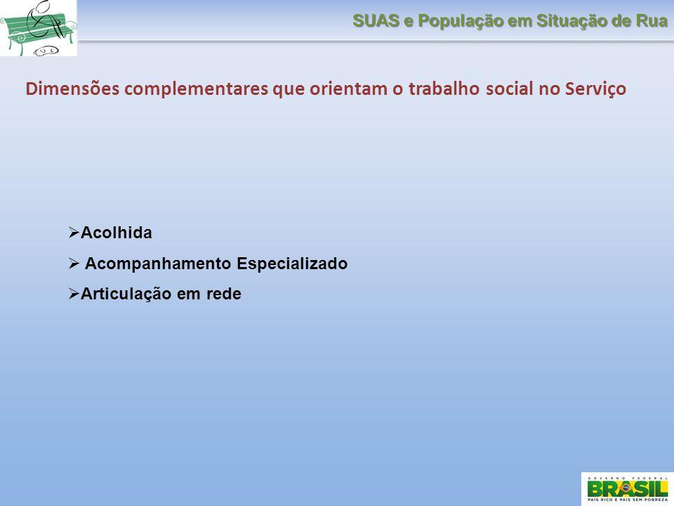 Dimensões complementares que orientam o trabalho social no Serviço