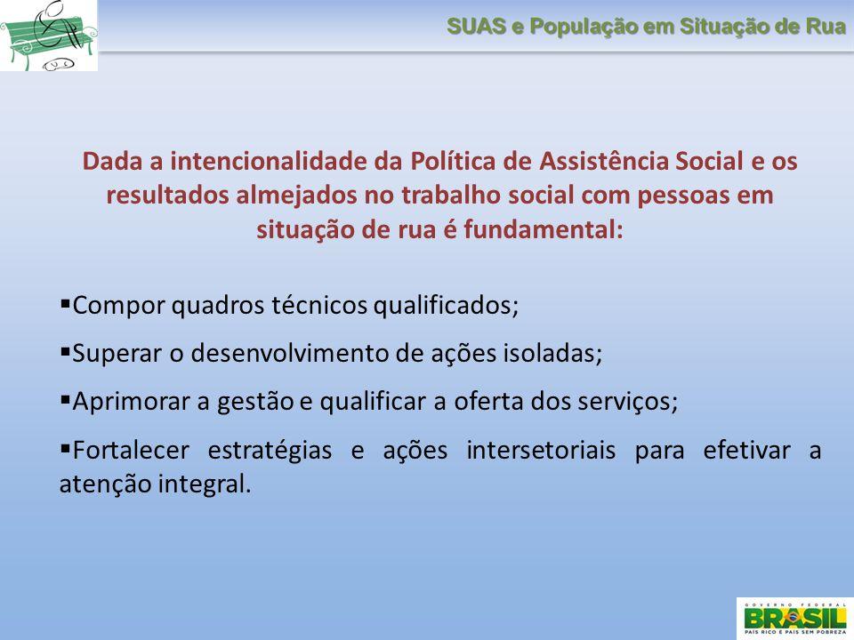 Dada a intencionalidade da Política de Assistência Social e os resultados almejados no trabalho social com pessoas em situação de rua é fundamental: