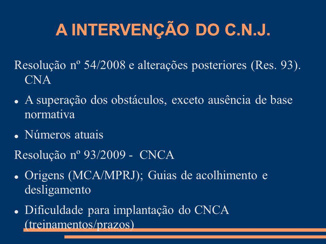 A INTERVENÇÃO DO C.N.J. A INTERVENÇÃO DO C.N.J.