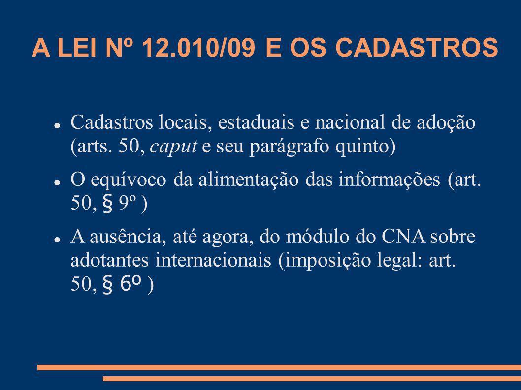 A LEI Nº 12.010/09 E OS CADASTROS Cadastros locais, estaduais e nacional de adoção (arts. 50, caput e seu parágrafo quinto)