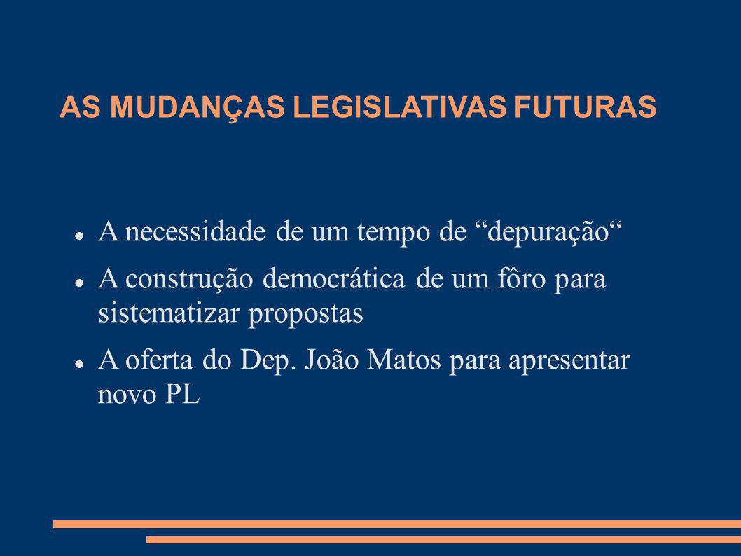 AS MUDANÇAS LEGISLATIVAS FUTURAS