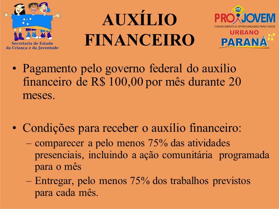 AUXÍLIO FINANCEIROPagamento pelo governo federal do auxílio financeiro de R$ 100,00 por mês durante 20 meses.