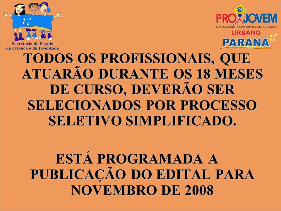 ESTÁ PROGRAMADA A PUBLICAÇÃO DO EDITAL PARA NOVEMBRO DE 2008