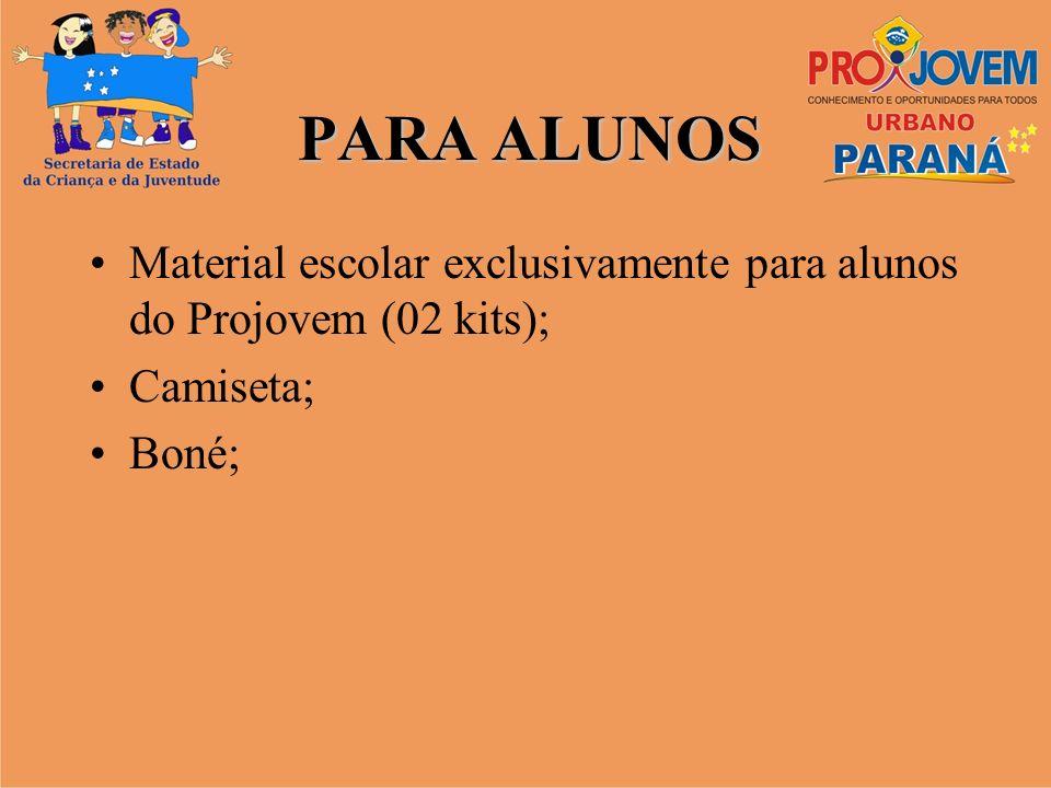 PARA ALUNOS Material escolar exclusivamente para alunos do Projovem (02 kits); Camiseta; Boné;