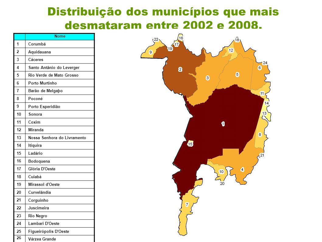 Distribuição dos municípios que mais desmataram entre 2002 e 2008.