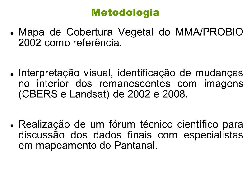Mapa de Cobertura Vegetal do MMA/PROBIO 2002 como referência.