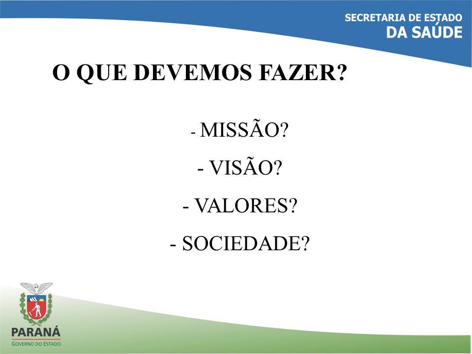 O QUE DEVEMOS FAZER - MISSÃO VISÃO VALORES SOCIEDADE